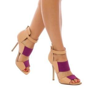 Izabella Rue Aubree Tan/Purple Sandle High Heels